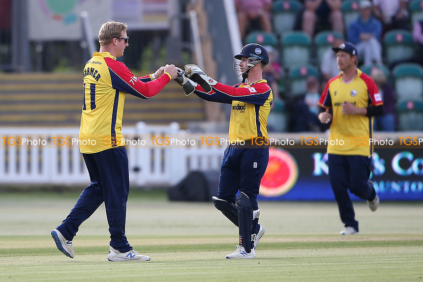 Simon Harmer of Essex celebrates with his team mates after taking the wicket of Tom Abell during Somerset vs Essex Eagles, Vitality Blast T20 Cricket at The Cooper Associates County Ground on 9th June 2021