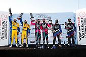 #86 Meyer Shank Racing w/Curb-Agajanian Acura NSX GT3, GTD: Mario Farnbacher, Matt McMurry, Robby Foley III, Bill Auberlen, Alvaro Parente and Misha Goikhberg celebrate in Victory Lane