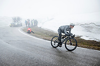 Victor Campenaerts (BEL/Qhubeka ASSOS) coming down the misty Passo Giau<br /> <br /> due to the bad weather conditions the stage was shortened (on the raceday) to 153km and the Passo Giau became this years Cima Coppi (highest point of the Giro).<br /> <br /> 104th Giro d'Italia 2021 (2.UWT)<br /> Stage 16 from Sacile to Cortina d'Ampezzo (shortened from 212km to 153km)<br /> <br /> ©kramon