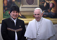 Pope Francis receives the President of Bolivia, Juan Evo Morales Ayma at the Apostolic Palace on December 15, 2017 at the Vatican.