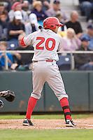 Spokane Indians first baseman Barrett Serrato #20 at bat during a game against the Everett AquaSox at Everett Memorial Stadium on June 20, 2012 in Everett, WA.  Everett defeated Spokane 9-8 in 13 innings.  (Ronnie Allen/Four Seam Images)