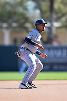 Detroit Tigers shortstop Dixon Machado (49) during a Spring Training game against the Baltimore Orioles on March 4, 2015 at Ed Smith Stadium in Sarasota, Florida.  Detroit defeated Baltimore 5-4.  (Mike Janes/Four Seam Images)
