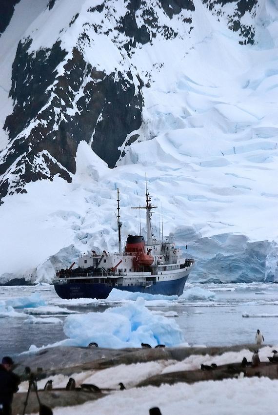 MV Ushuaia, anchored at Port Lockroy, Antarctica Peninsular