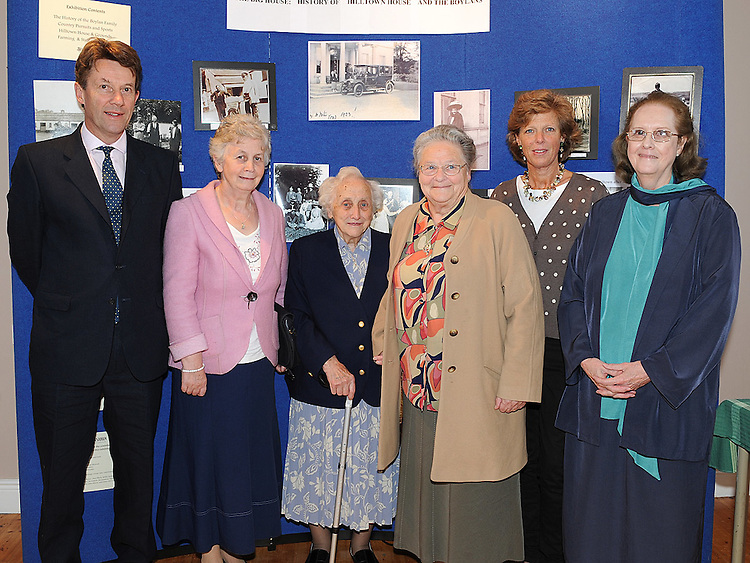 Sr Martina Boylan (3rd from right) who officially opened the exhibition of Hilltown House pictured with Stephen Neel, Betty Deveraux, Una Townley, Philippa Neel and Juliette Boylan at Bellewstown parish hall. Photo: www.pressphotos.ie