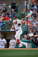 Rochester Red Wings Brent Rooker (19) at bat during an International League game against the Scranton/Wilkes-Barre RailRiders on June 24, 2019 at Frontier Field in Rochester, New York.  Rochester defeated Scranton 8-6.  (Mike Janes/Four Seam Images)
