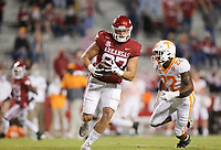 Arkansas tight end Blake Kern (87) carries the ball, Saturday, November 7, 2020 during the second quarter of a football game at Donald W. Reynolds Razorback Stadium in Fayetteville. Check out nwaonline.com/201108Daily/ for today's photo gallery. <br /> (NWA Democrat-Gazette/Charlie Kaijo)