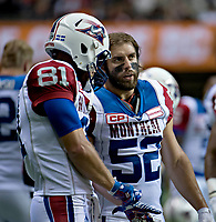 Vancouver, September, 09, 2016 - Alouettes Kyle Graves and Nicolas Boulay have a word on the sidelines. The Montreal Alouettes lost to the BC Lions 27-38. (Andrew Soong)