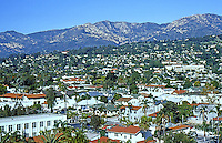 Santa Barbara CA: City and Hills from roof of Courthouse. Photo 1983