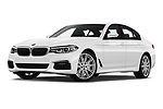 Stock pictures of low aggressive front three quarter view of 2019 BMW 5-Series M-Sport 4 Door Sedan Low Aggressive
