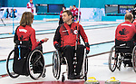 Sochi, RUSSIA - Mar 7 2014 -  Sonja Gaudet and Mark Ideson of Canada's Wheelchair Curling Team trains before the Sochi 2014 Paralympic Winter Games in Sochi, Russia.  (Photo: Matthew Murnaghan/Canadian Paralympic Committee)