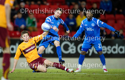 St Johnstone v Motherwell....26.01.11  .Chris Millar is blocked by Shaun Hutchinson.Picture by Graeme Hart..Copyright Perthshire Picture Agency.Tel: 01738 623350  Mobile: 07990 594431