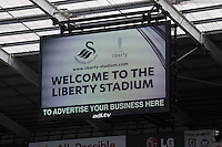 Pictured: One of the new giant tv screens. Saturday 23 August 2014<br /> Re: Premier League, Swansea City FC v Burnley at the Liberty Stadium, south Wales