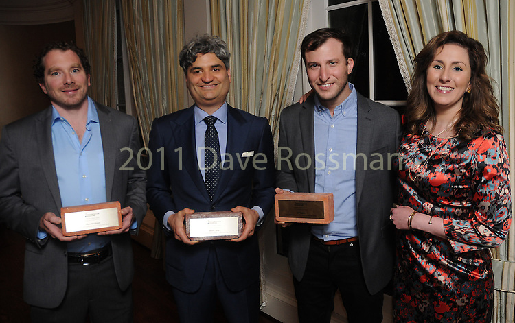"""From left: Winners Adam Brackman, Monte Large, Jeff Kaplan and Elise Capers at Preservation Houston's """"The Cornerstone Dinner""""  presenting the 2018 Good Brick Awards at the River Oaks Country Club Friday March 02,2018. (Dave Rossman Photo)"""