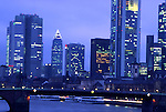 Europe, DEU, Germany, Hesse, Frankfurt, Typical view on to the city, Skyline, Financial district at twilight....[ For each utilisation of my images my General Terms and Conditions are mandatory. Usage only against use message and proof. Download of my General Terms and Conditions under http://www.image-box.com or ask for sending. A clearance before usage is necessary...Material is subject to royalties. Each utilisation of my images is subject to a fee in accordance to the present valid MFM-List...Contact | archive@image-box.com | www.image-box.com ]