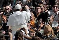 Pope Francis during papal mass as part of the Palm Sunday celebration on St Peter's square at the Vatican.  on March 24, 2013