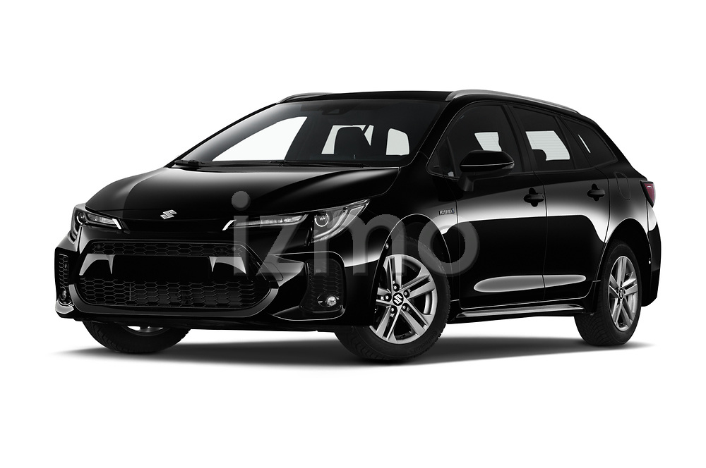 Stock pictures of low aggressive front three quarter view of 2021 Suzuki Swace GLX 5 Door Wagon Low Aggressive