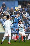 Getafe CF's Francisco Portillo  and Celta de Vigo's Brais Mendez (L) and  Jozabed Sanchez during La Liga match. February 09,2019. (ALTERPHOTOS/Alconada)