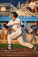 Mahoning Valley Scrappers first baseman Erik Gonzalez #9 during a NY-Penn League game against the Batavia Muckdogs at Dwyer Stadium on August 22, 2012 in Batavia, New York.  Batavia defeated Mahoning Valley 3-2.  (Mike Janes/Four Seam Images)