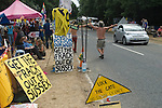 Balcombe West Sussex UK. Fracking protest camp. The camp site is situated along London Road the B2036 outside the Cuadrilla Resources site entrance.