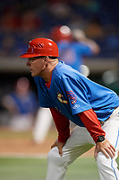 Clearwater Threshers manager Marty Malloy (2) during a Florida State League game against the Tampa Tarpons on April 18, 2019 at Spectrum Field in Clearwater, Florida.  Clearwater defeated Tampa 10-3.  (Mike Janes/Four Seam Images)