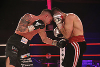 19th December 2020, Hamburg, Germany; Universal Boxing Promotion fight, Felix Sturm versus Timo Rost; Sturn hits Rost with a low left