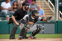Jupiter Hammerheads catcher Roy Morales (7) awaits the pitch during a game against the Fort Myers Miracle on April 9, 2017 at CenturyLink Sports Complex in Fort Myers, Florida.  Jupiter defeated Fort Myers 3-2.  (Mike Janes/Four Seam Images)