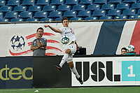 FOXBOROUGH, MA - JULY 9: Themi Antonoglou #81 of Toronto FC II collects a pass during a game between Toronto FC II and New England Revolution II at Gillette Stadium on July 9, 2021 in Foxborough, Massachusetts.