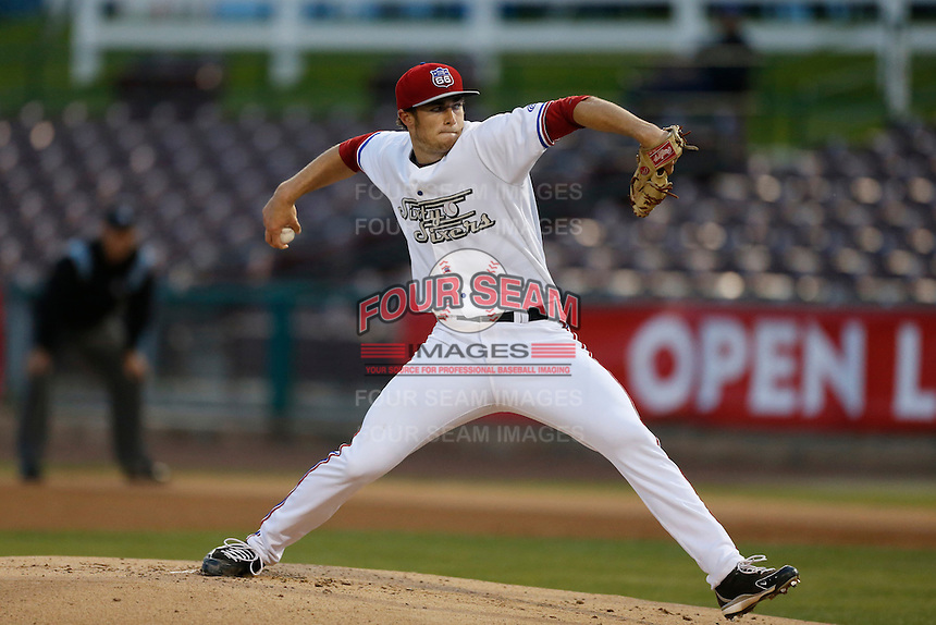 Mark Sappington #22 of the Inland Empire 66'ers pitches against the Rancho Cucamonga Quakes at San Manuel Stadium on April 24, 2013 in San Bernardino, California. Inland Empire defeated Rancho Cucamonga, 2-1. (Larry Goren/Four Seam Images)
