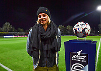 Ella Van Kerkhoven pictured posing next to the Scooore Super League ball holder during a female soccer game between  AA Gent Ladies and Sporting Charleroi Feminin on the fifth matchday of the 2020 - 2021 season of Belgian Scooore Womens Super League , friday 16 th of October 2020  in Oostakker , Belgium . PHOTO SPORTPIX.BE | SPP | DAVID CATRY