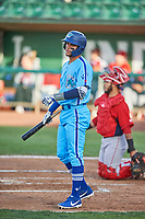 Marco Hernandez (13) of the Ogden Raptors bats against the Orem Owlz at Lindquist Field on June 20, 2019 in Ogden, Utah. The Owlz defeated the Raptors 11-8. (Stephen Smith/Four Seam Images)