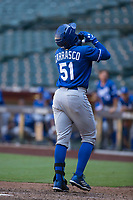 Kansas City Royals third baseman Dennicher Carrasco (51) celebrates after hitting a solo home run during an Instructional League game against the Arizona Diamondbacks at Chase Field on October 14, 2017 in Scottsdale, Arizona. (Zachary Lucy/Four Seam Images)