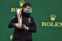 15th November 2020; Istanbul Park, Istanbul, Turkey; FIA Formula One World Championship 2020, Grand Prix of Turkey, Race Day;  Toto Wolff AUT, Mercedes AMG Petronas Motorsport takes the constructors trophy on the podium