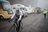 Wout Van Aert (BEL/Crelan-Vastgoedservice) on his way to a misty recon of the course, the day before the race<br /> <br /> 2016 CX UCI World Cup Zeven (DEU)