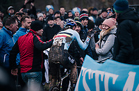 Wout Van Aert (BEL/Crelan-Charles) finding his girlfriend at the finish<br /> <br /> Elite Men's Race<br /> UCI CX Worlds 2018<br /> Valkenburg - The Netherlands