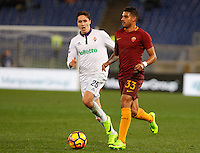 Calcio, Serie A: Roma vs Fiorentina. Roma, stadio Olimpico, 7 febbraio 2017.<br /> Roma's Emerson Palmieri, right, is chased by Fiorentina's  Federico Chiesa during the Italian Serie A soccer match between Roma and Fiorentina at Rome's Olympic stadium, 7 February 2017.<br /> UPDATE IMAGES PRESS/Riccardo De Luca