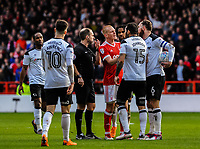 Nottingham Forest's midfielder Ben Watson (32) and Derby County's defender Richard Keogh (6) argues after Derby County's midfielder Tom Huddlestone (44) red card during the Sky Bet Championship match between Nottingham Forest and Derby County at the City Ground, Nottingham, England on 10 March 2018. Photo by Stephen Buckley / PRiME Media Images.
