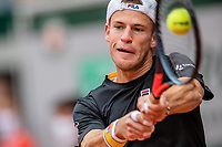 9th October 2020, Roland Garros, Paris, France; French Open tennis, Roland Garr2020;  Diego SCHWARTZMAN ARG hits a return during his match against Rafael NADAL ESP