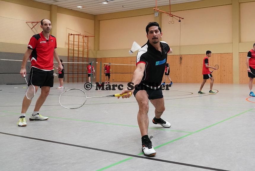 Doppel 1. Mannschaft Qamar Khan und Antonio Morsi (rot) - Mörfelden-Walldorf 09.02.2020: RW Walldorf Badminton