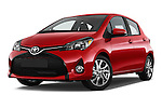 Stock pictures of low aggressive front three quarter view of a 2015 Toyota Yaris SE 5-Door Liftback AT 5 Door Hatchback Low Aggressive