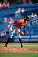 Baltimore Orioles relief pitcher Miguel Castro (50) looks in for the sign during a Grapefruit League Spring Training game against the Philadelphia Phillies on February 28, 2019 at Spectrum Field in Clearwater, Florida.  Orioles tied the Phillies 5-5.  (Mike Janes/Four Seam Images)