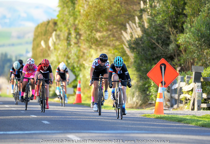 Bee Townsend (Counties Manukau Cycling) wins the Under-17 Girls Millars Road circuit race on day two of the 2018 NZ Age Group Road Cycling Championships in Carterton, New Zealand on Saturday, 21 April 2018. Photo: Dave Lintott / lintottphoto.co.nz