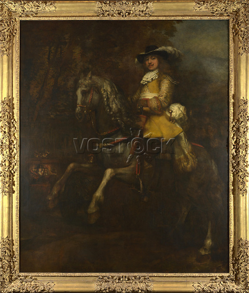 Full title: Portrait of Frederick Rihel on Horseback<br /> Artist: Rembrandt<br /> Date made: probably 1663<br /> Source: http://www.nationalgalleryimages.co.uk/<br /> Contact: picture.library@nationalgallery.co.uk<br /> <br /> Copyright © The National Gallery, London