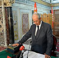25 juillet 2019, Tunisie, Tunis: le président du Parlement tunisien, Mohamed Ennaceur,  prêté serment comme président par intérim de la Tunisie. Selon la constitution tunisienne, le président du parlement peut exercer temporairement les fonctions de President<br /> <br /> <br /> PHOTO :  Wassim Jdidi/AQP