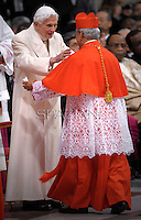 Cardinal Orlando B. Quevedo of Philippines n   is congratulated by Pope emeritus Benedict XVI  after he was appointed cardinal by the Pope at the consistory in the St. Peter's Basilica at the Vatican on February 22, 2014.