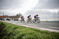 Mathieu Van der Poel (NED/Alpecin-Fenix), Wout van Aert (BEL/Jumbo-Visma) & Kasper Asgreen (DEN/Deceuninck - Quick Step) taking full control over the race<br /> <br /> 105th Ronde van Vlaanderen 2021 (MEN1.UWT)<br /> <br /> 1 day race from Antwerp to Oudenaarde (BEL/264km) <br /> <br /> ©kramon
