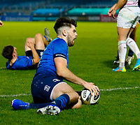 19th March 2021; RDS Arena, Dublin, Leinster, Ireland; Guinness Pro 14 Rugby, Leinster versus Ospreys; Harry Byrne of Leinster scoring the opening try for 5 - 0