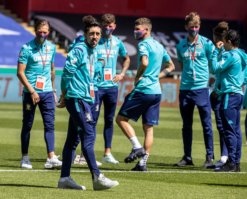 Leeds United's Pablo Hernandez inspecting the pitch before the match<br /> <br /> Photographer Andrew Kearns/CameraSport<br /> <br /> The EFL Sky Bet Championship - Swansea City v Leeds United - Sunday 12th July 2020 - Liberty Stadium - Swansea<br /> <br /> World Copyright © 2020 CameraSport. All rights reserved. 43 Linden Ave. Countesthorpe. Leicester. England. LE8 5PG - Tel: +44 (0) 116 277 4147 - admin@camerasport.com - www.camerasport.com