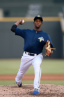 Starting pitcher Willy Taveras (40) of the Columbia Fireflies struck out eight in six innings to earn a 3-2 win over the Rome Braves on Tuesday, June 4, 2019, at Segra Park in Columbia, South Carolina. (Tom Priddy/Four Seam Images)
