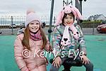 Enjoying the playground in Ballyheigue on Saturday, l to r: Ellie Groarka and Jordan Layden.