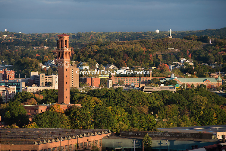 WATERBURY, CT - 12 October 2016-101216EC02--  SAVE FOR TOWER DOCUMENTARY. The Republican-American clock tower in October. View from roof of Waterbury Hospital. Erin Covey Republican-American.